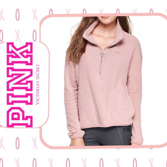 072abc490c330 VS PINK Stadium Sherpa Half Zip Fleece Sweatshirt
